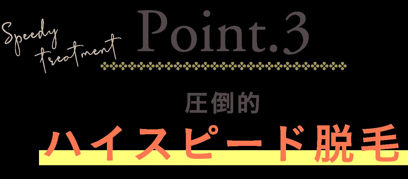 Point.3 圧倒的ハイスピード脱毛